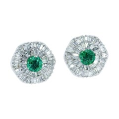 Ballerina Halo Interchangeable Diamond Ruby Emerald Earring Set GIA Certified