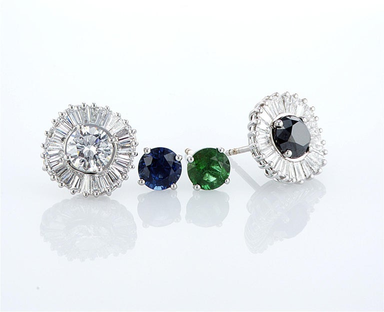 Art Deco Interchangeable Earring Set Diamonds, Sapphires, Emeralds & Black Diamonds