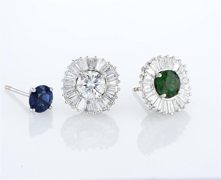 Baguette Cut Interchangeable Earring Set Diamonds, Sapphires, Emeralds & Black Diamonds