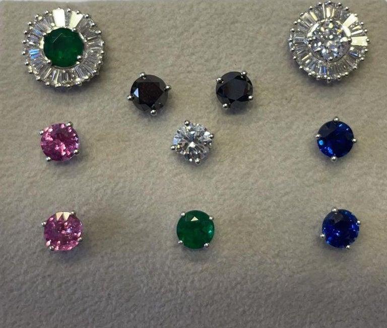 Interchangeable Earring Set Diamonds, Sapphires, Emeralds & Black Diamonds In New Condition In New York, NY