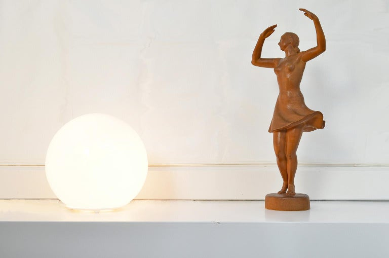 Ballerina Sculpture, Dancing Woman Figure Carved Wood by J. Rudolph Light Brown 5