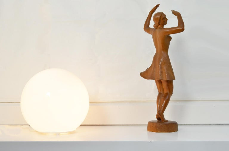 Ballerina Sculpture, Dancing Woman Figure Carved Wood by J. Rudolph Light Brown 6