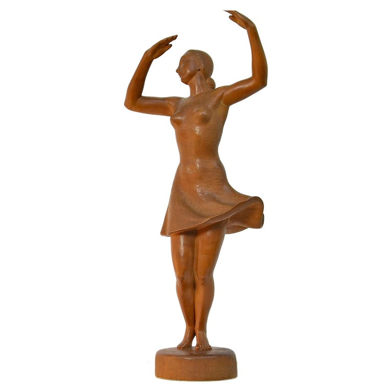 Ballerina Sculpture, Dancing Woman Figure Carved Wood by J. Rudolph Light Brown 1