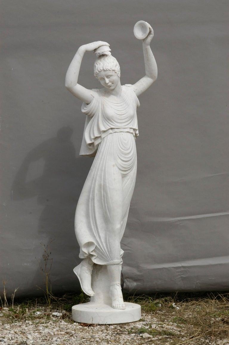 Ballerina statue in acquabianco marble. Perfect for garden or home decor.