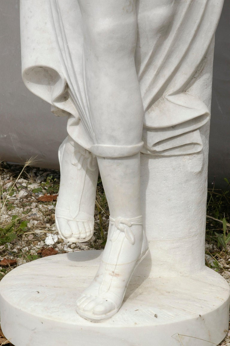 Italian Ballerina Statue in Acquabianco Marble by Kreoo For Sale