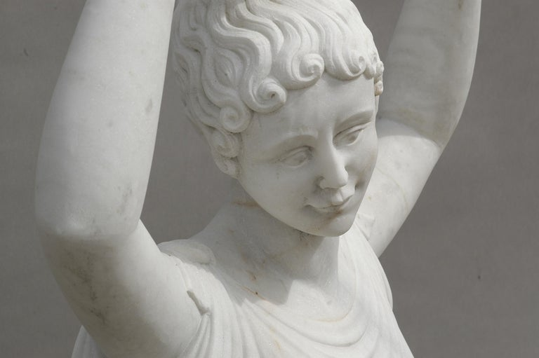Ballerina Statue in Acquabianco Marble by Kreoo In New Condition For Sale In Seattle, WA