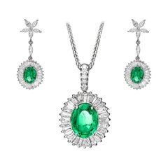 Ballerina Style Diamond & Emerald Earring Pendant Set 18k White Gold