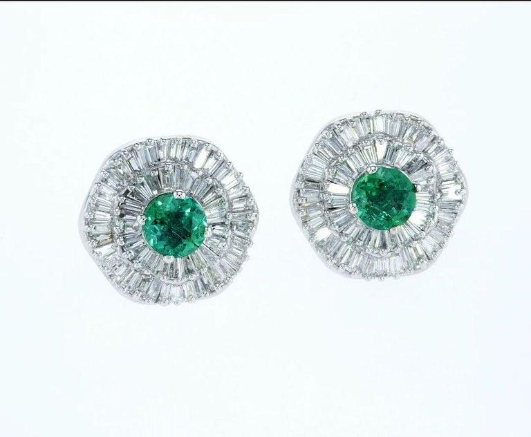 Art Deco Ballerina Style Halo Interchangeable Diamond Emerald Ruby Earring Set GIA Cert For Sale