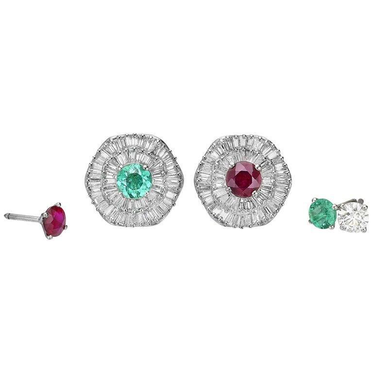 Baguette Cut Ballerina Style Halo Interchangeable Diamond Emerald Ruby Earring Set GIA Cert For Sale