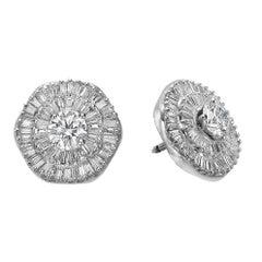 Ballerina Style Double Halo Interchangeable Diamond Emerald Ruby Earring Set GIA