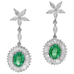 Ballerina Style Natural Emeralds and Diamonds Drop Earrings EGL Certified