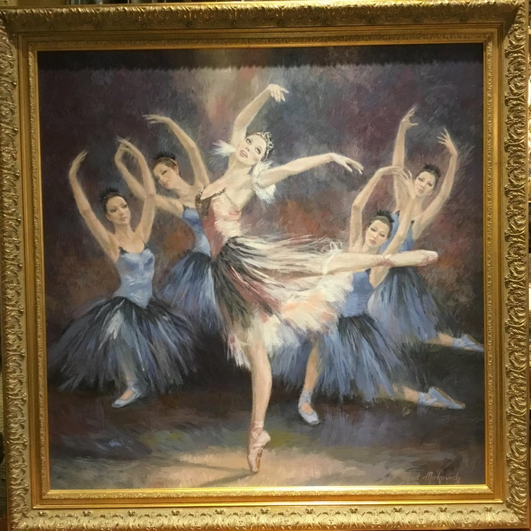 """Ballerinas"" by Nenad Mirkovich acrylic painting In Excellent Condition For Sale In Houston, TX"