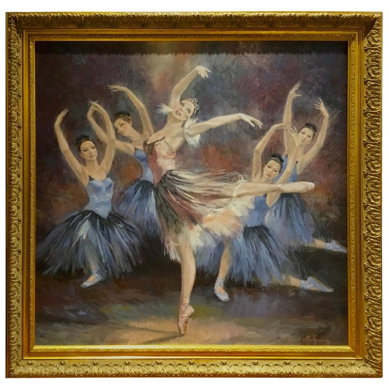 """Ballerinas"" by Nenad Mirkovich acrylic painting For Sale"