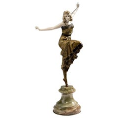 Ballet Cléopâtre Russian Dancer in Bronze, Onyx Base, Signed P. Philippe