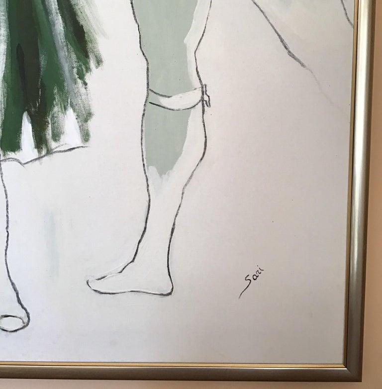 #5-1476 large scale ballet painting, oil on canvas signed by Sari displayed in a silvered wood frame. Marks on the frame.