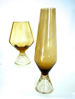 'Ballon' Vase and Tall Space-Age Vase with Bullicante Base by Ryd of Sweden 1960