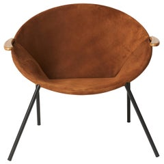 Balloon Lounge Chair in Brown Nubuck Leather by Hans Olsen for Warm Nordic