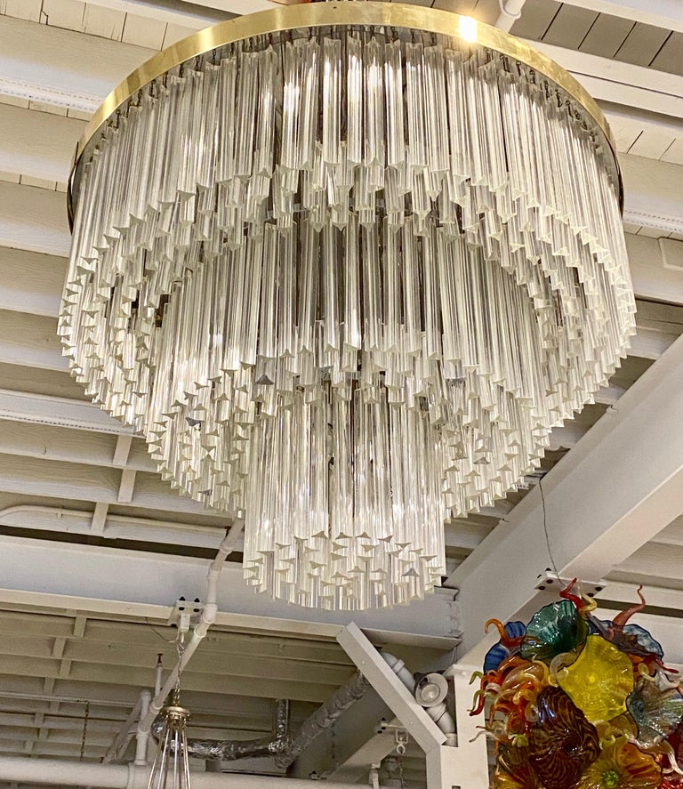 Mid-Century Modern Ballroom Size Midcentury Round Flush Mount Tiered Glass Chandelier For Sale