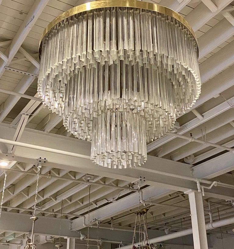 Ballroom Size Midcentury Round Flush Mount Tiered Glass Chandelier In Excellent Condition For Sale In North Bergen, NJ