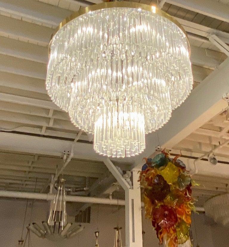 Ballroom Size Midcentury Round Flush Mount Tiered Glass Chandelier For Sale 3