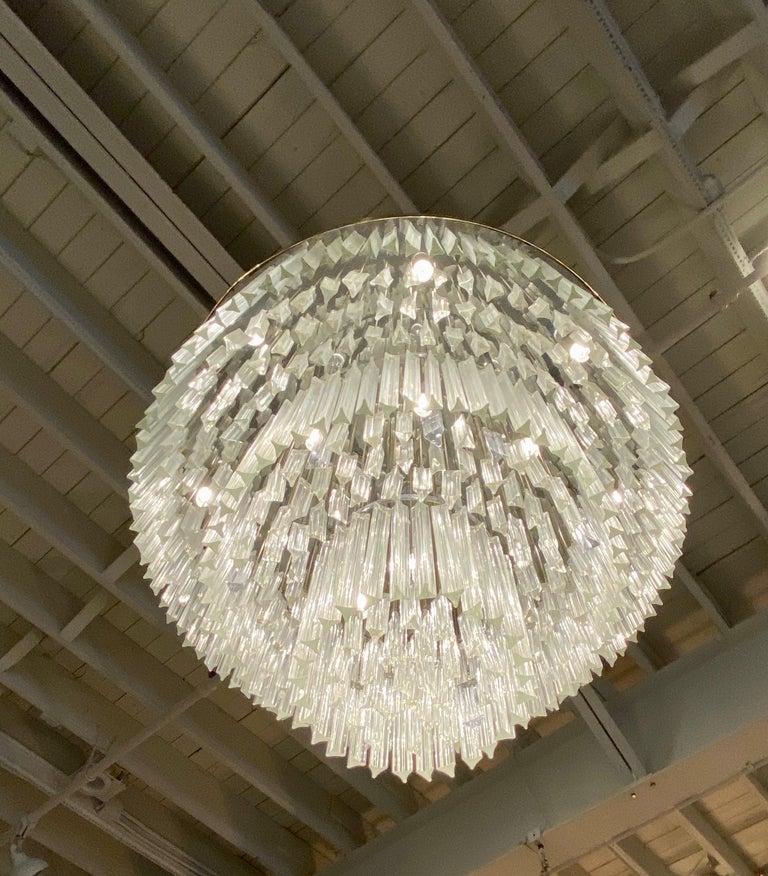 Ballroom Size Midcentury Round Flush Mount Tiered Glass Chandelier For Sale 4