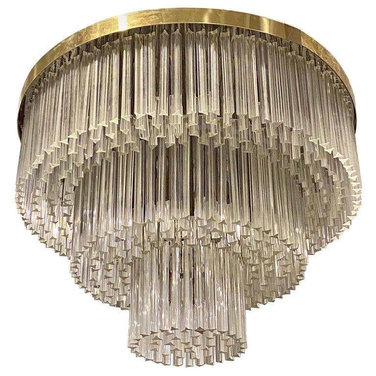 Ballroom Size Midcentury Round Flush Mount Tiered Glass Chandelier For Sale