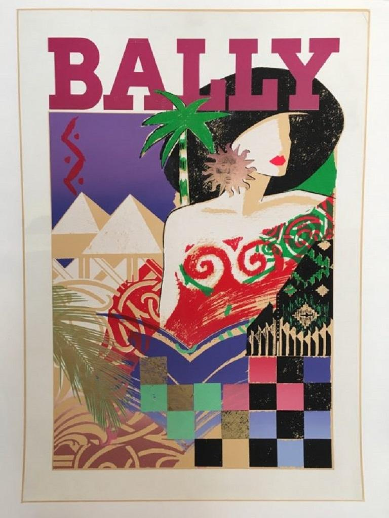 Late 20th Century Bally 1970s Vintage Poster Original Vintage Poster For Sale