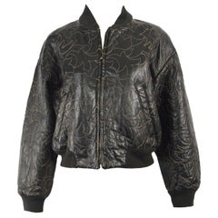Bally 1980s Women's Black Leather Running Stitch Embroidered Bomber Jacket