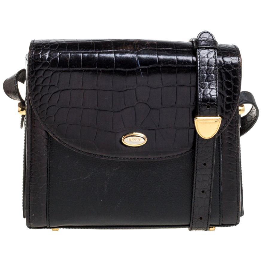 Bally Black Croc Embossed Leather Vintage Flap Shoulder Bag