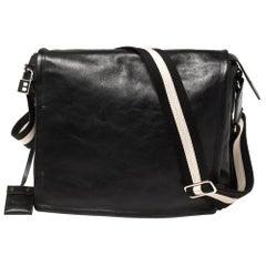 Bally Black Leather Crossbody Messenger Bag