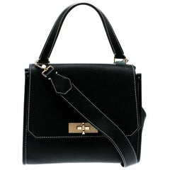 Bally Black Leather Small Breeze Top Handle Bag