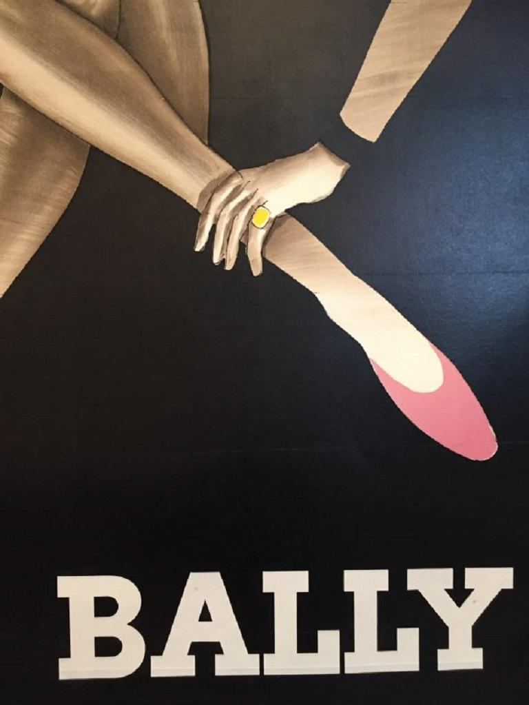 Late 20th Century Vintage Poster Original Bally Blonde Large Poster Fashion French Art Shoes  For Sale