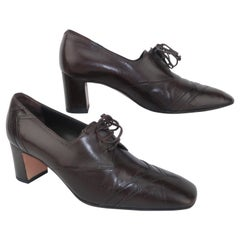 Bally Brown Leather Heeled Oxford Shoes Sz 8 M, 1990's