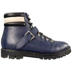 BALLY Champions Size 10 Navy & White Leather Hiking Ankle Boots