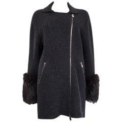 BALLY dark grey wool & cashmere FUR CUFF Knit Jacket 36 S