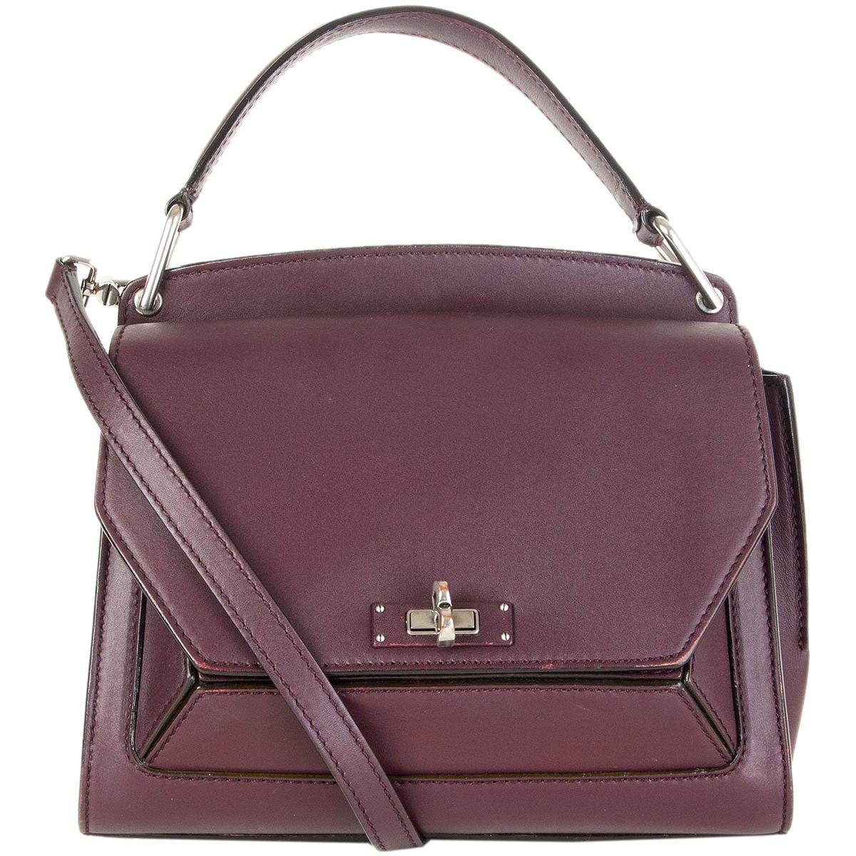 BALLY eggplant purple leather B TURN SATCHEL Shoulder Bag
