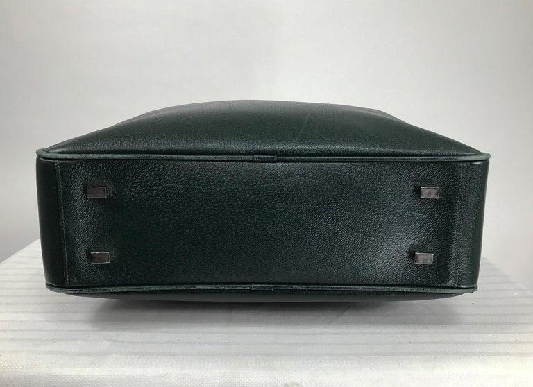 Black Bally Forest Green Pigskin Leather Carry On Business Bag Shoulder Strap For Sale
