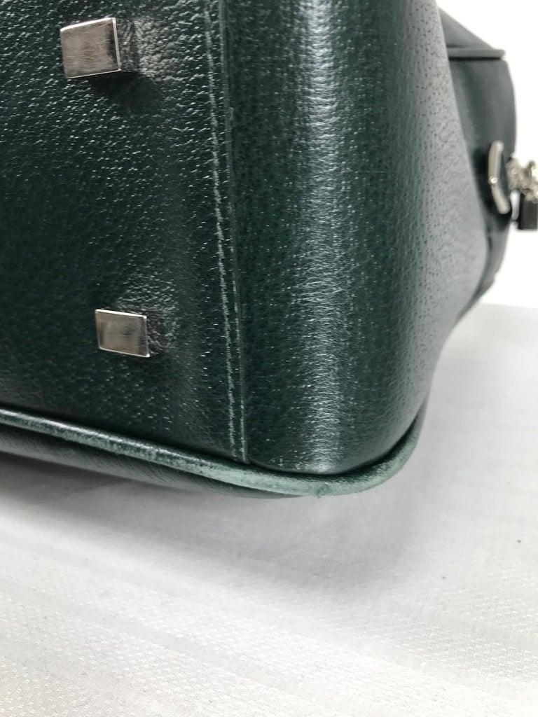 Women's or Men's Bally Forest Green Pigskin Leather Carry On Business Bag Shoulder Strap For Sale