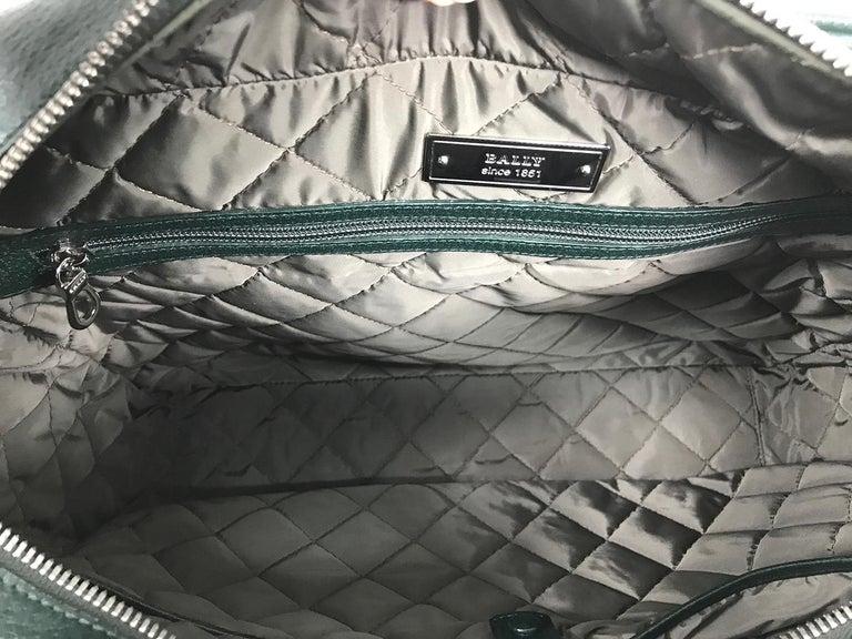 Bally Forest Green Pigskin Leather Carry On Business Bag Shoulder Strap For Sale 2