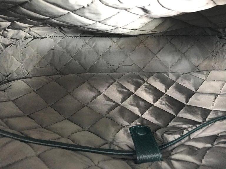 Bally Forest Green Pigskin Leather Carry On Business Bag Shoulder Strap For Sale 3