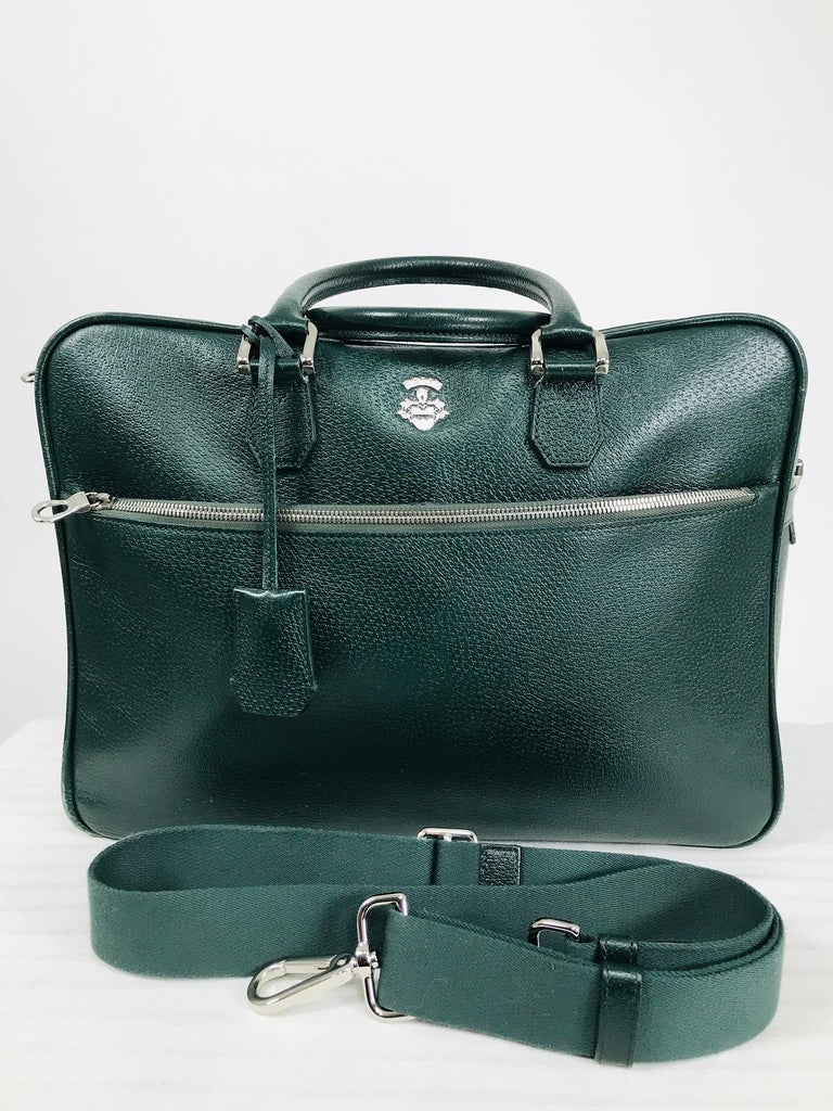 Bally Forest Green Pigskin Leather Carry On Business Bag Shoulder Strap For Sale 4