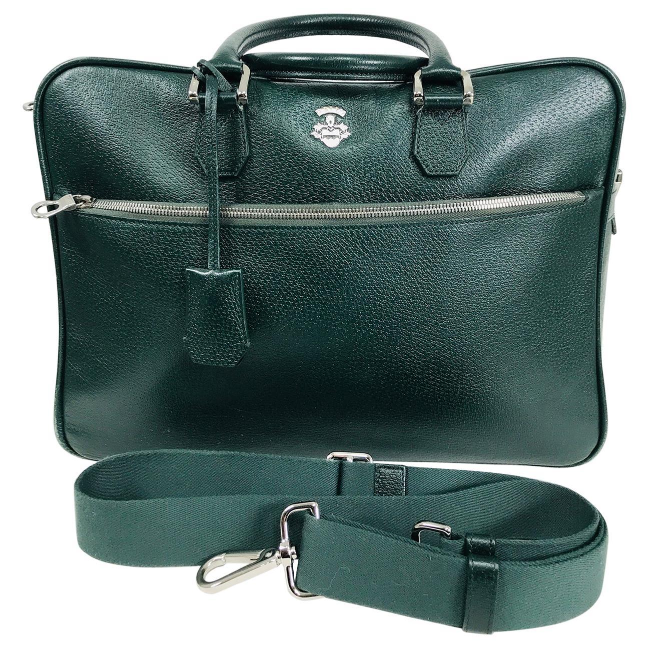 Bally Forest Green Pigskin Leather Carry On Business Bag Shoulder Strap