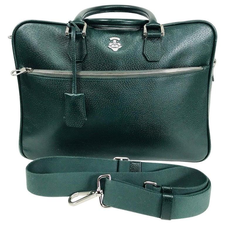 Bally Forest Green Pigskin Leather Carry On Business Bag Shoulder Strap For Sale