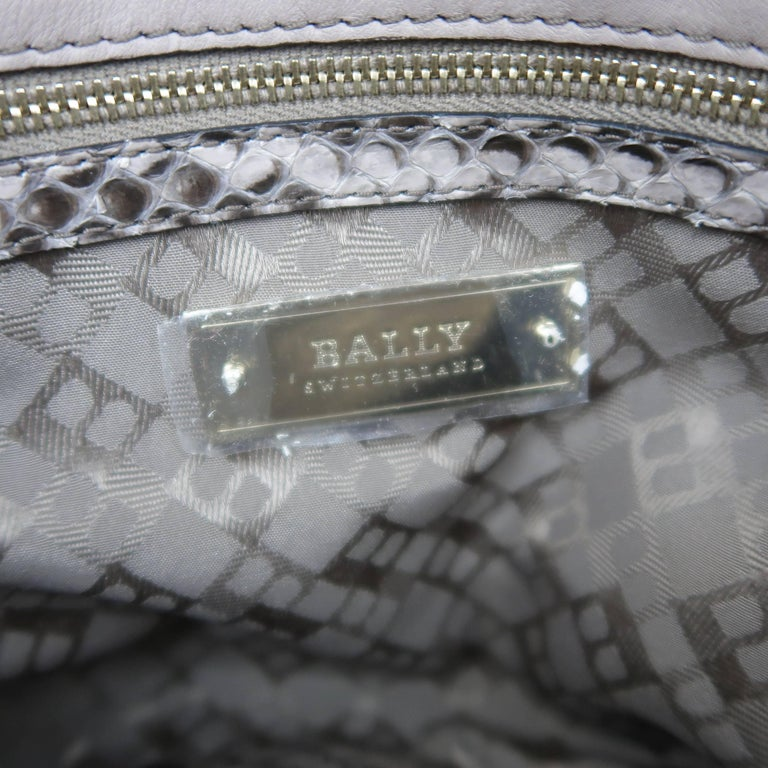BALLY Gray Snakeskin Leather Gold Hardware Accordion Clutch For Sale 5