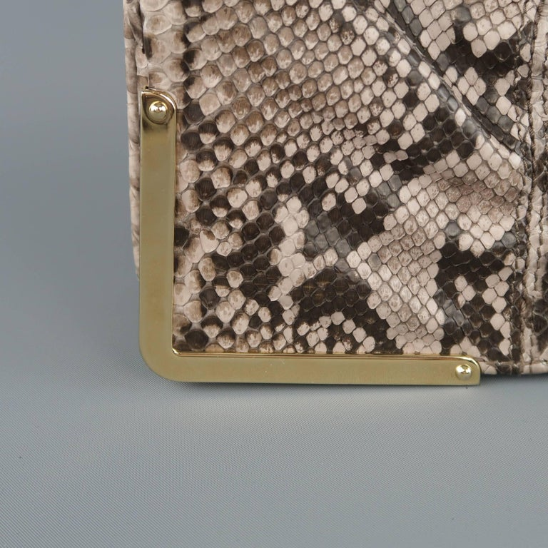 Brown BALLY Gray Snakeskin Leather Gold Hardware Accordion Clutch For Sale