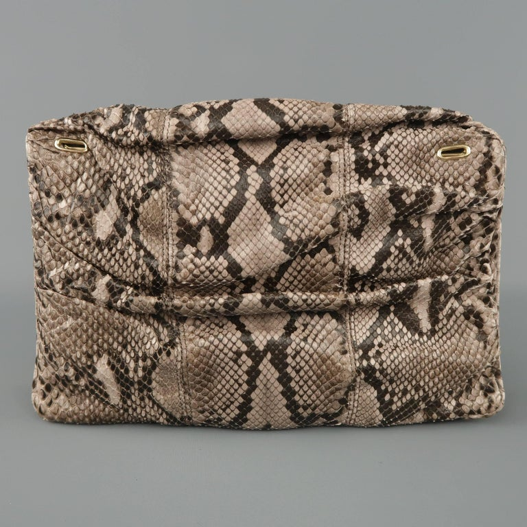 Women's BALLY Gray Snakeskin Leather Gold Hardware Accordion Clutch For Sale