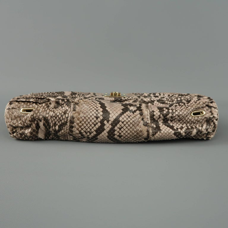 BALLY Gray Snakeskin Leather Gold Hardware Accordion Clutch For Sale 3