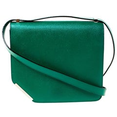 Bally Green Leather Corner Shoulder Bag
