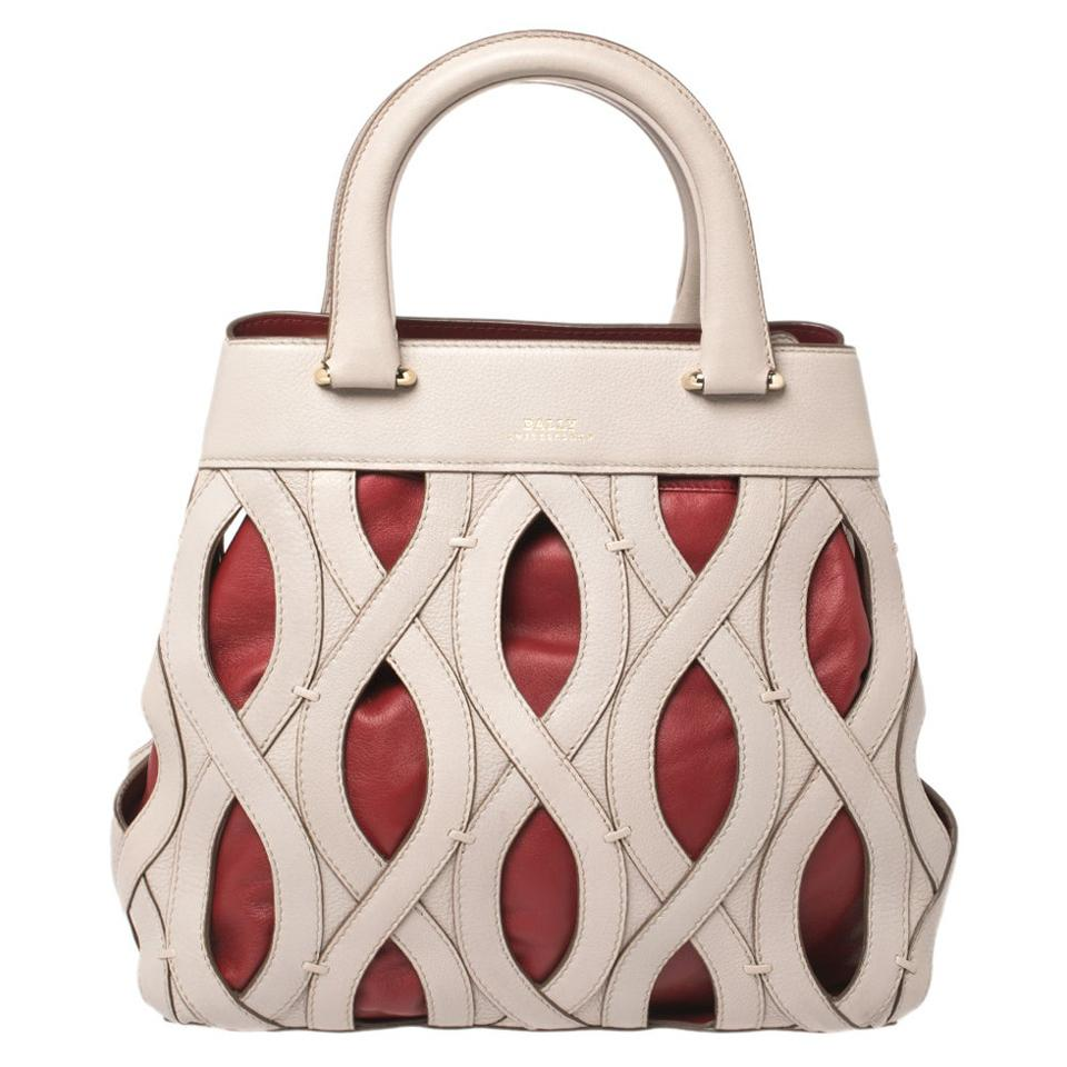 Bally Grey/Red Leather Papillon Tote