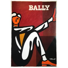 Vintage Poster Original Bally Man Bernard Villemot French Art Fashion Shoes